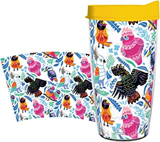 product image for Smile Drinkware USA - Eco-Friendly Drinkware - Australian Birds 16oz tumbler with lid and straw