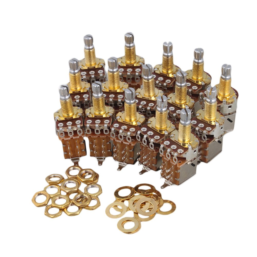 Mxfans 15x A250k Guitar Control Push Pull Potentiometer 18mm Coarse Knurling Shaft Gold