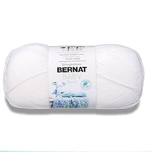 Bernat 16312121005 Big Ball Baby Solid Yarn - (3) Light Gauge 100% Acrylic - 12.3 oz - White-Machine Wash & Dry