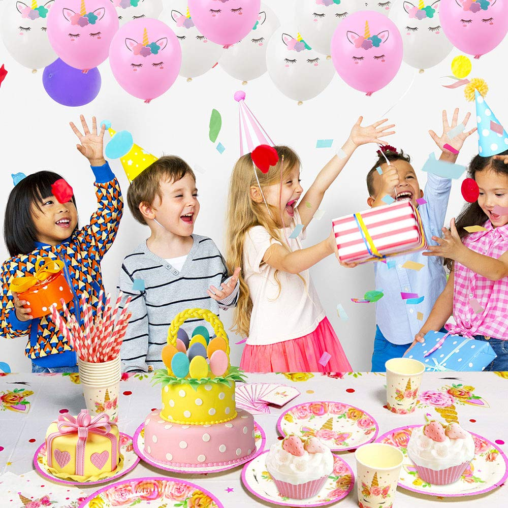Serves 20 217 Piece Unicorn Party Supplies Kit Paper Plates Balloons and Headband for Girls Birthday Party Decorations Cups Napkins Straws Table Cloth Invitation Cards