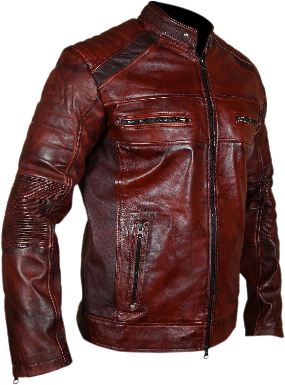Mens Cafe Racer Vintage Biker Leather Jacket for Sale On
