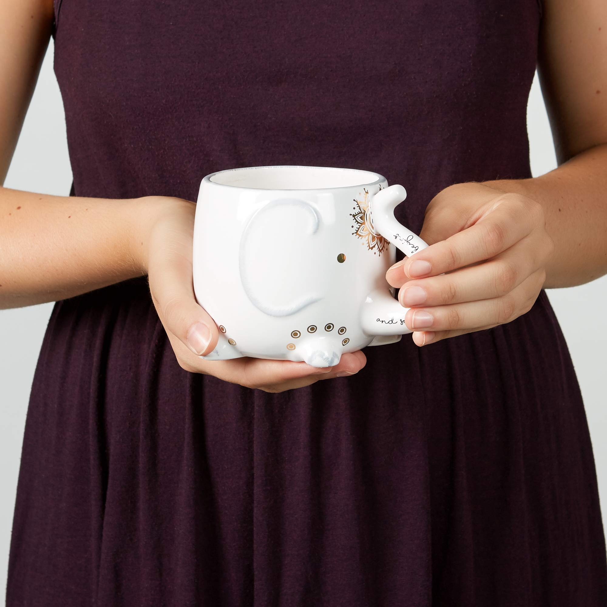 White Ceramic Coffee or Tea Mugs: Tri-Coastal Design Soho Boho Elephant Coffee Mug with Gold Foil Details, Fun Trunk Handle and Printed Saying - 18.6 Fluid Ounce Large, Cute Handmade Cup by Tri-coastal Design (Image #5)