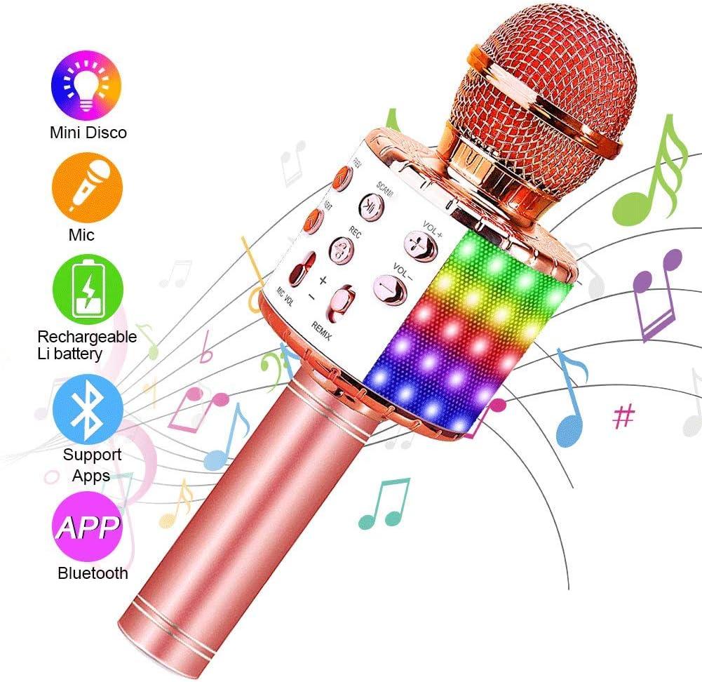 SunTop Micrófono Karaoke Bluetooth, Microfono Inalámbrico Karaoke, Portátil con Altavoz y Luces LED, Reproductor KTV doméstico con función de grabación