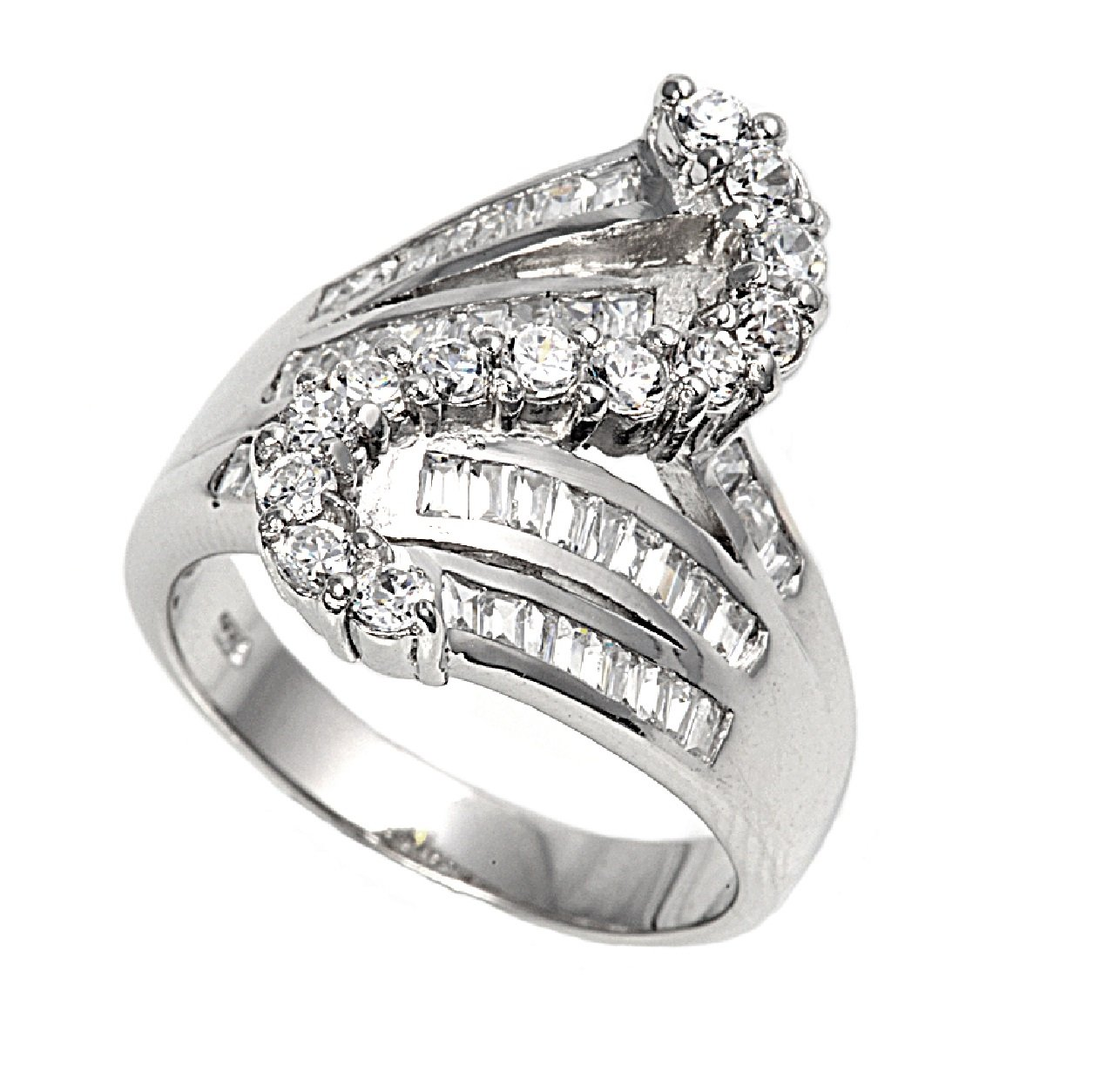 Cubic Zirconia Snake Design Ring 925 Sterling Silver Size 6