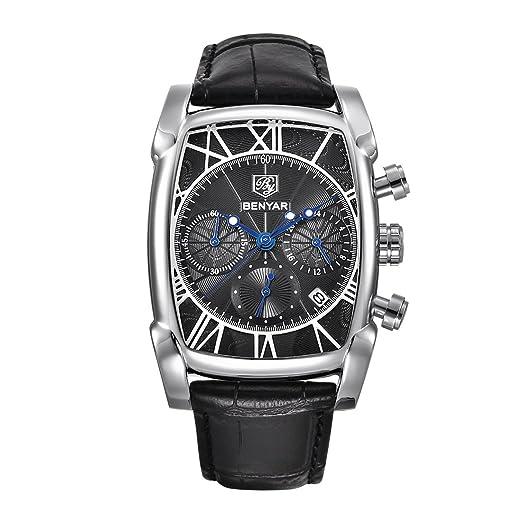 Los Hombres Negros de Relojes de Cuarzo analógico Reloj de Pulsera de Negocios Casual para la Correa de los Hombres del cronógrafo Calendario Cuero ...