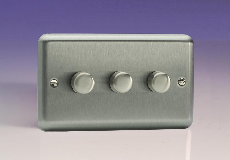 Varilight 3 Gang 2 Way Push On Off Rotary Dimmer X 40 250w Twin Wiring Instructions Plate Matt Chrome Hs43 Lighting