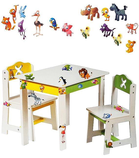 alles-meine.de GmbH 3 TLG. Set: Sitzgruppe für Kinder - aus sehr stabilen Holz - weiß - lustige Zootiere - Tisch + 2 Stühle /