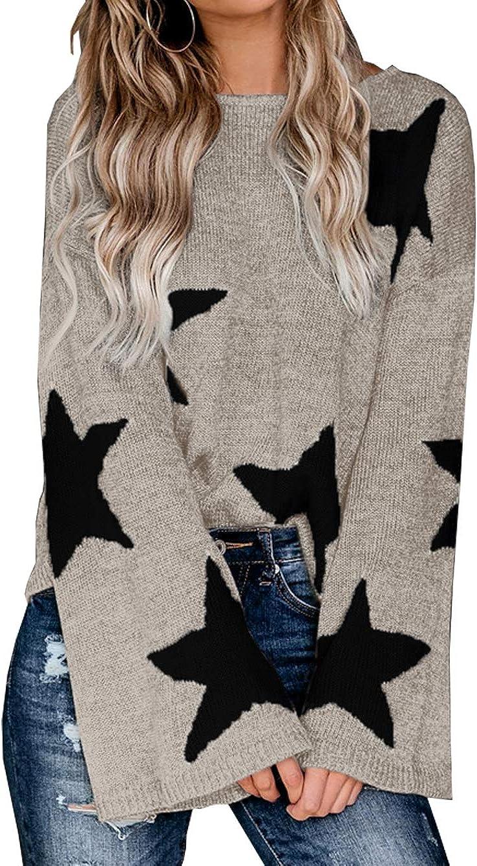 PRETTYGARDEN Women's Winter V Neck Lantern Long Sleeve Star Color-Block Split Knit Sweater Pullover Tops