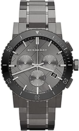 Amazon.com  Burberry Chronograph Gunmetal Dial Grey Ion-plated ... 05094a02d98