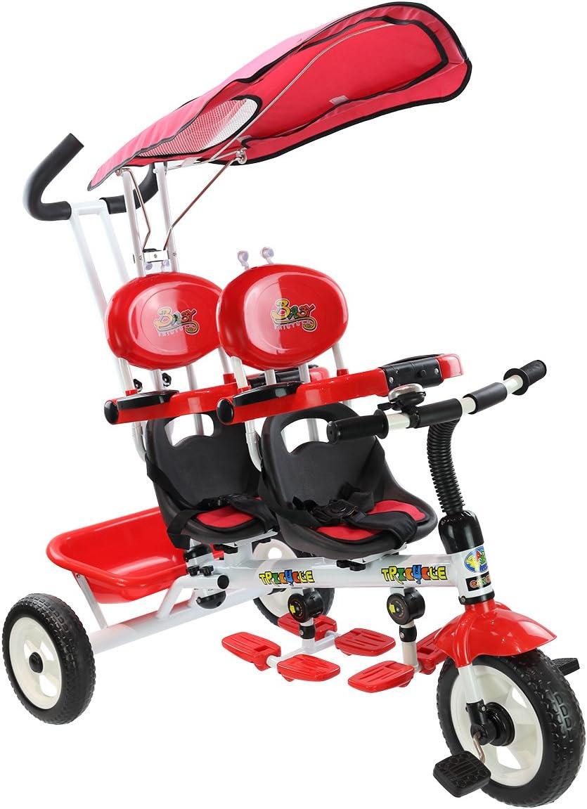 Rouge DREAMADE 4 en 1 Tricycle Evolutif Jumeaux 18-36 Mois avec 2 Places Rotatives /à 360/°,3 Roues,Auvent,Barre de Pouss/ée Amovible,Charge Maximale 30KG pour Filles,Gar/çons
