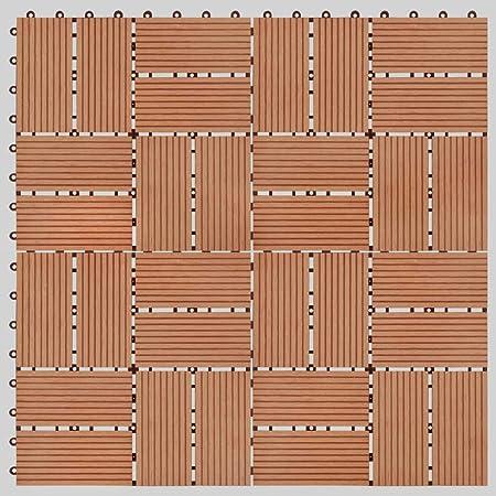 UnfadeMemory Pack de 11 uds Baldosas Terraza Exterior de WPC para Jardín Balcon Patio Porche Baño,Cada Uno 30x30cm,1 m² en Total (Teca, Patrón 3): Amazon.es: Hogar