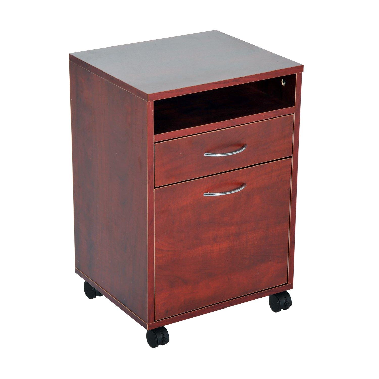 HomCom 24'' Rolling End Table Mobile Printer Cart Nightstand Organizer - Brown by HOMCOM