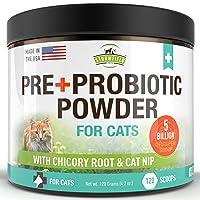 Probiotics for Cats, Prebiotic, Catnip - 120 Grams 5 Billion CFUs 20 Strains, USA - Natural Cat Probiotic Powder Supplements for Digestive Health, Immune Support Diarrhea Allergy Relief UTI Vomiting