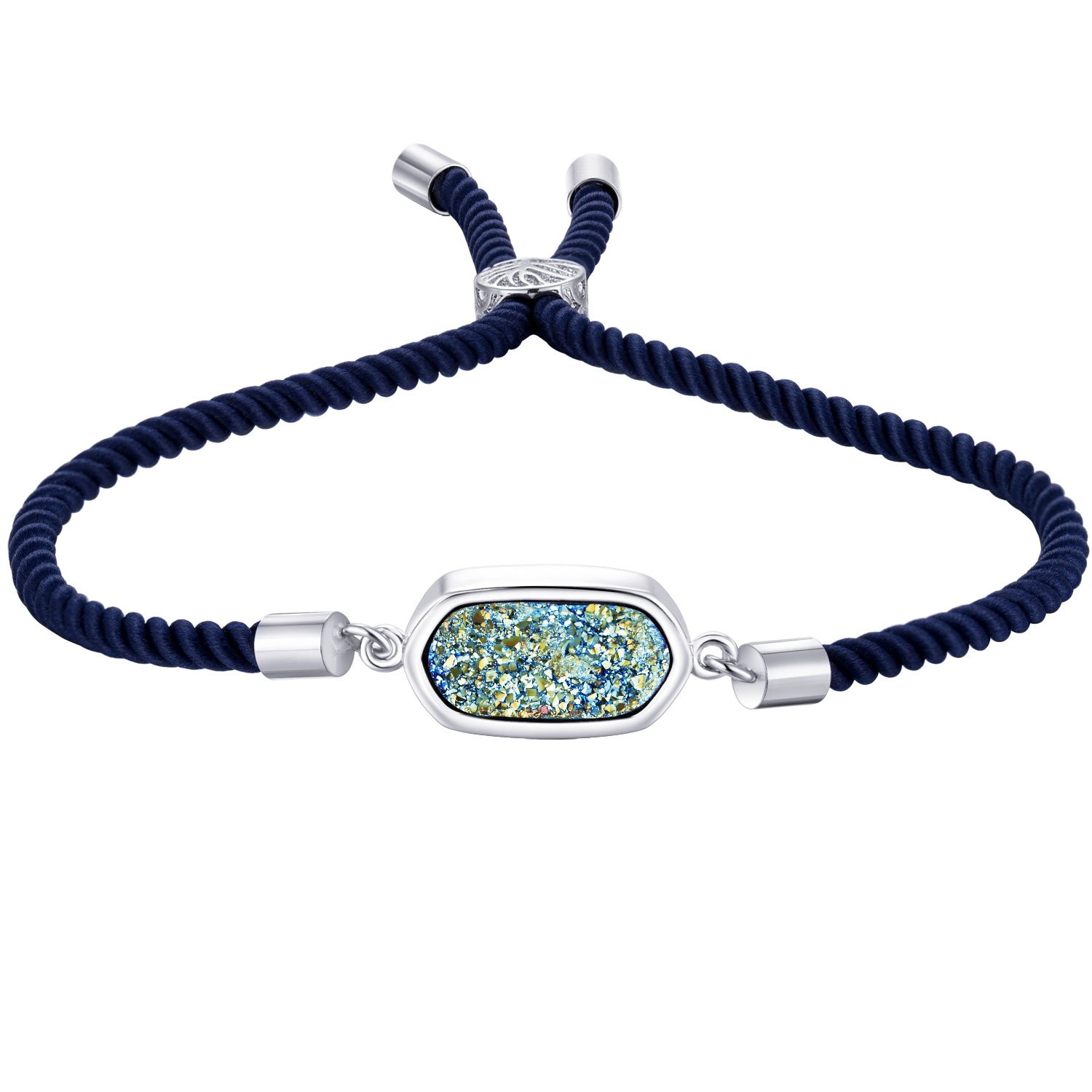 WISHMISS Women's Classicy Square Natural Druzy Adjustable Handmade Nylon Leather Bolo Bracelet (3 Colors) (Green)