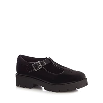 983e337e8c94f Debenhams Kids Girls  Black Patent T-Bar School Shoes 3 Older ...