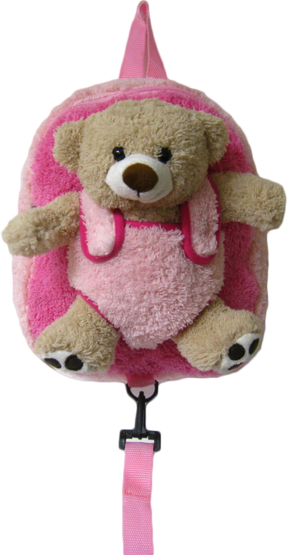 Children's Safety Harness Backpack with Removable Plush Animal (Pink Bear)
