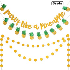 6 Pieces Pineapple Banner Party Like A Pineapple Decoration Circle Dots Garland Gold Glitter Bunting Garland for Hawaiian Luau Tropical Theme Party Supplies