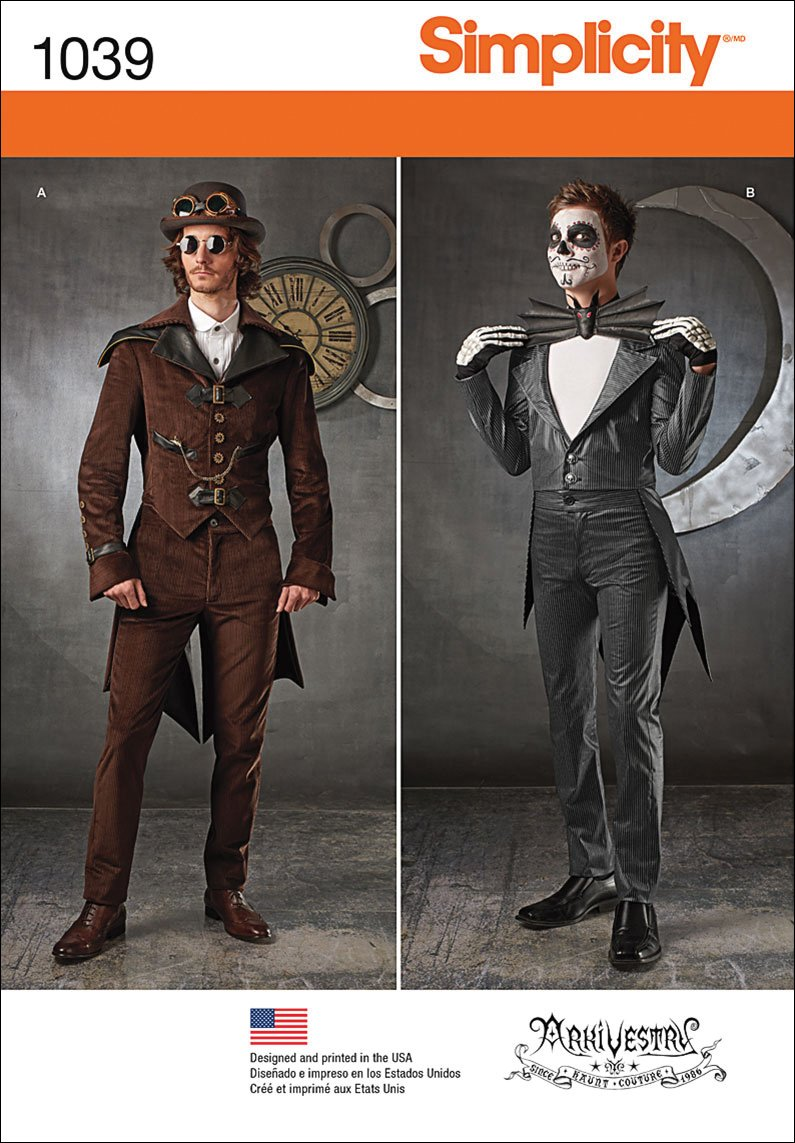 Men's Steampunk Clothing, Costumes, Fashion Tailcoat with Five Collar and Lapel Options Sewing Pattern by Laughing MoonSimplicity Pattern 1039 BB Mens Cosplay Costumes by Arkivestry Size 46-48-50-52 $2.41 AT vintagedancer.com