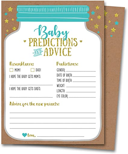 Amazon Com 50 Mason Jar Baby Shower Prediction And Advice Cards Gender Neutral Boy Or Girl Baby Shower Games Baby Shower Decorations Baby Shower Favors Health Personal Care