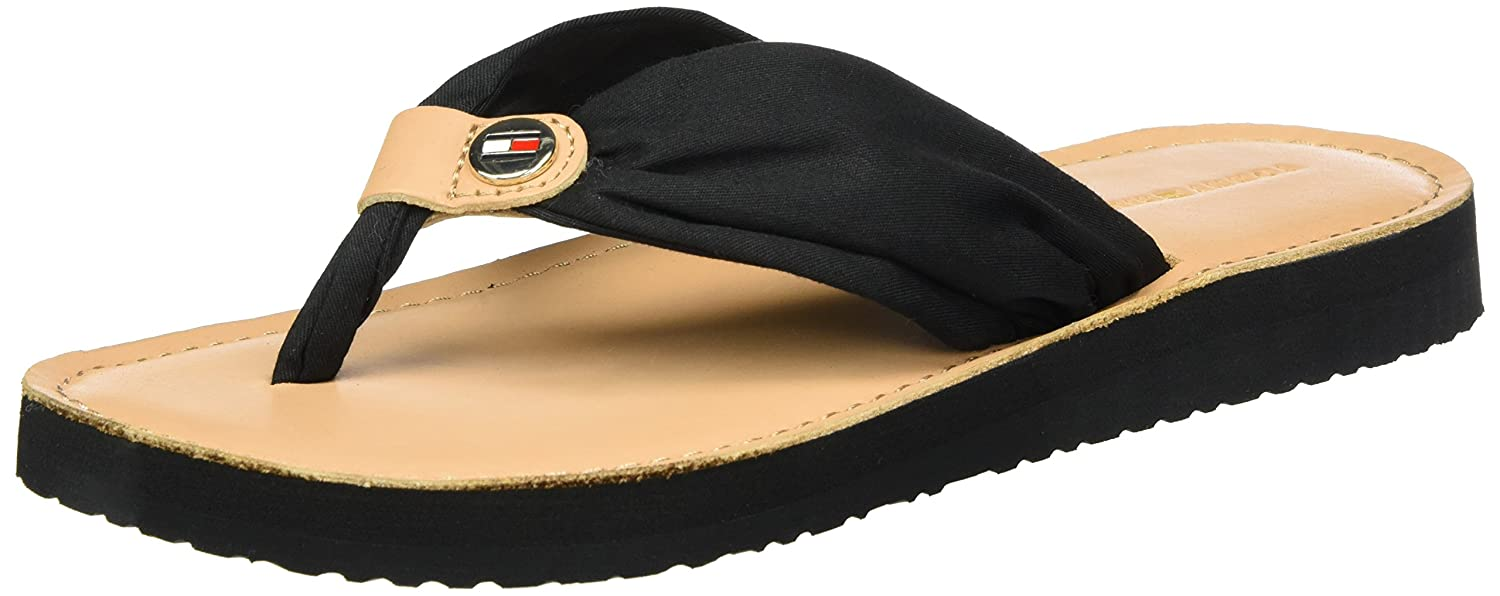 Tommy Hilfiger Damen Leather Footbed Beach Sandal Zehentrenner  40 EU|Schwarz (Black 990)