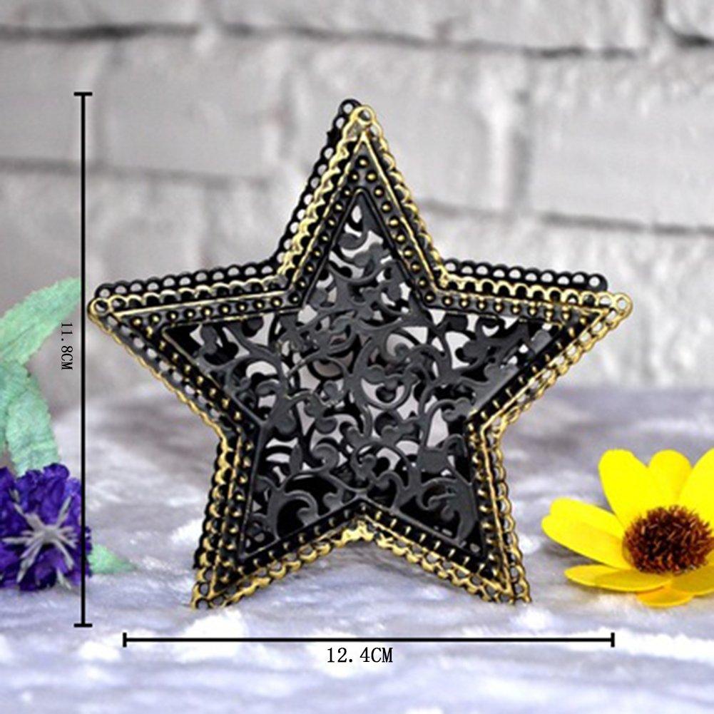 Monbedos Photophore marocain Creux /étoile Photophore cr/éatif en m/étal pour bougeoir /à Suspendre pour d/écoration de Mariage ou de Festival
