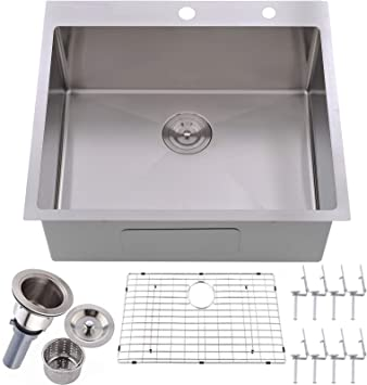 Valisy 25 X 22 X 10 Inch Topmount 16 Gauge Stainless Steel Extra Thick Drop In Brushed Nickel Single Bowl Kitchen Sink Dish Grid And Basket Strainer Included Amazon Com