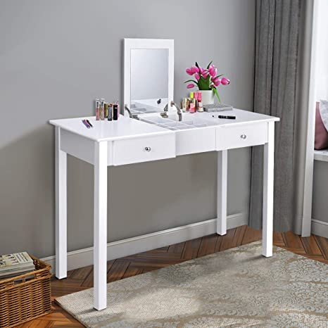 Giantex Vanity Table with Flip Top Mirror, Makeup Dressing Table Writing  Desk with 2 Drawers and Removable Organizer 9 Compartments, Bedroom Vanity  ...
