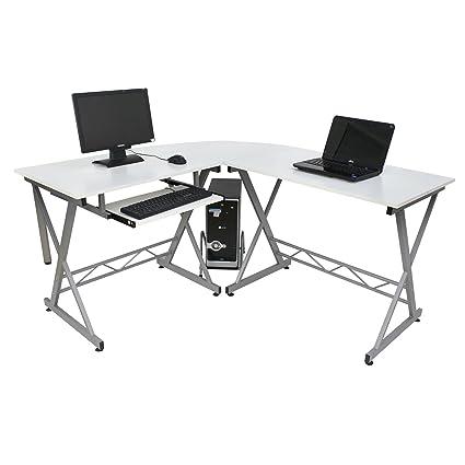 Wood L Shape Corner Computer Desk PC Laptop Table Workstation Home Office  3 Piece