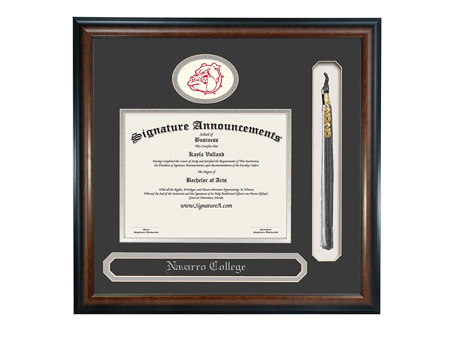 Professional//Doctor Sculpted Foil Seal Signature Announcements Navarro College Undergraduate Name /& Tassel Graduation Diploma Frame 16 x 16 Matte Mahogany