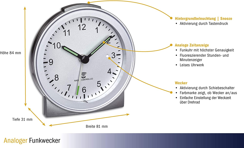 FUNKWECKER TFA 98.1040.54 LAUTLOS OHNE TICKEN REISEWECKER FUNKUHR FUNKZEIT