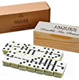 Jaques of London Dominoes - Club Double Six Dominoes Set in a Wooden Slide Lid Box - Great for Children & Adults