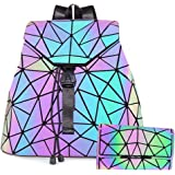 HotOne Geometric Purse Holographic Purse and Handbag Color Changes Luminous Purse for Women, M Lminous Backpack+Flapped Wallet (Multicoloured) - MSLRWT