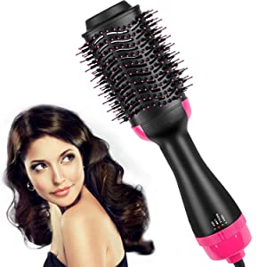 Hair Dryer Brush,Hot Air Brush, One Step Hair Dryer & Volumizer, Styler for Straightening, Curling, Salon Negative Ion Ceramic Electric Blow Dryer Rotating Straightener Salon Negative Ion