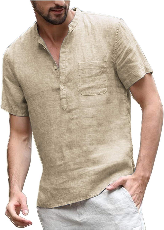 COOFANDY - Camiseta de hombre de manga corta, cuello alto de algodón, con bolsillos en el pecho, corte ajustado, informal, ligera, para el tiempo libre: Amazon.es: Ropa y accesorios