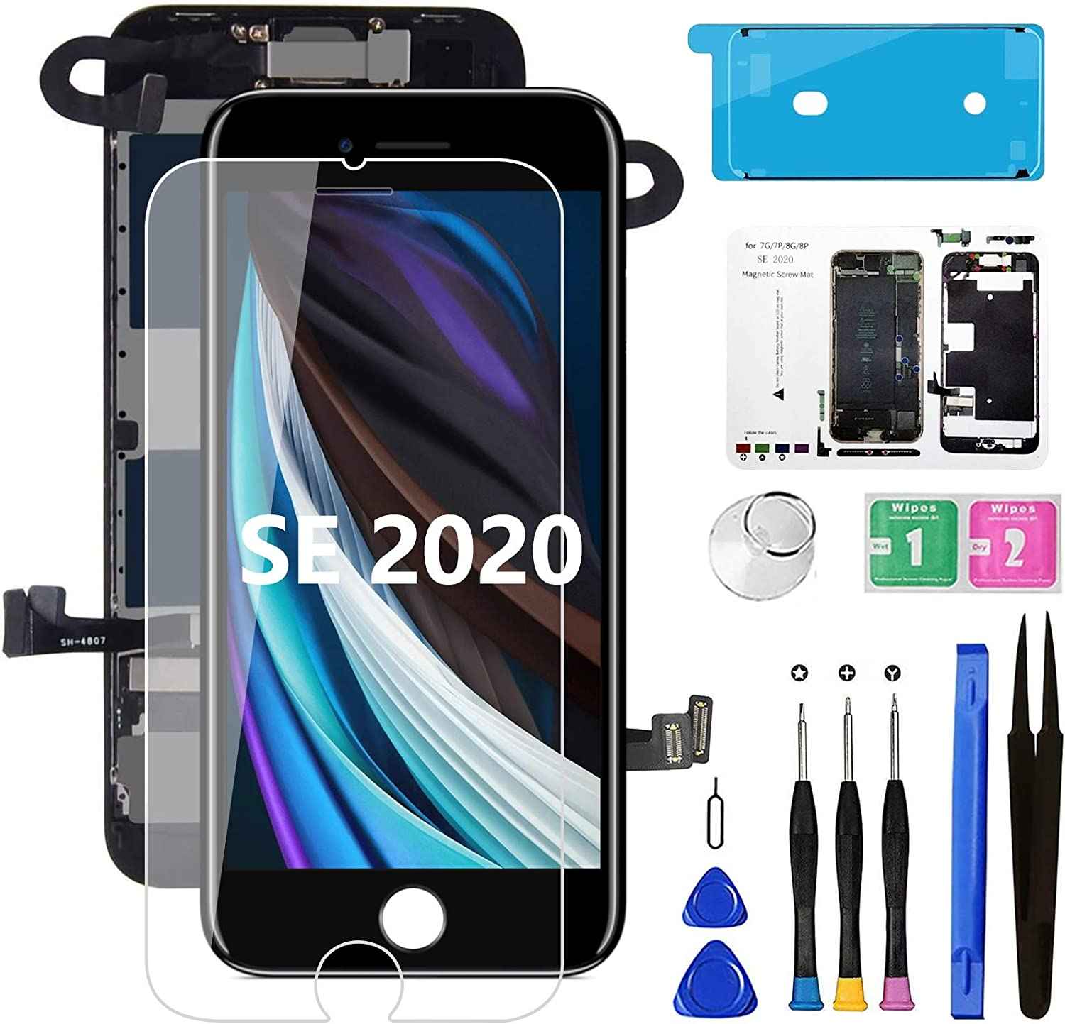 for iPhone SE 2020 [ 2nd Generation ] Screen Replacement Black 4.7