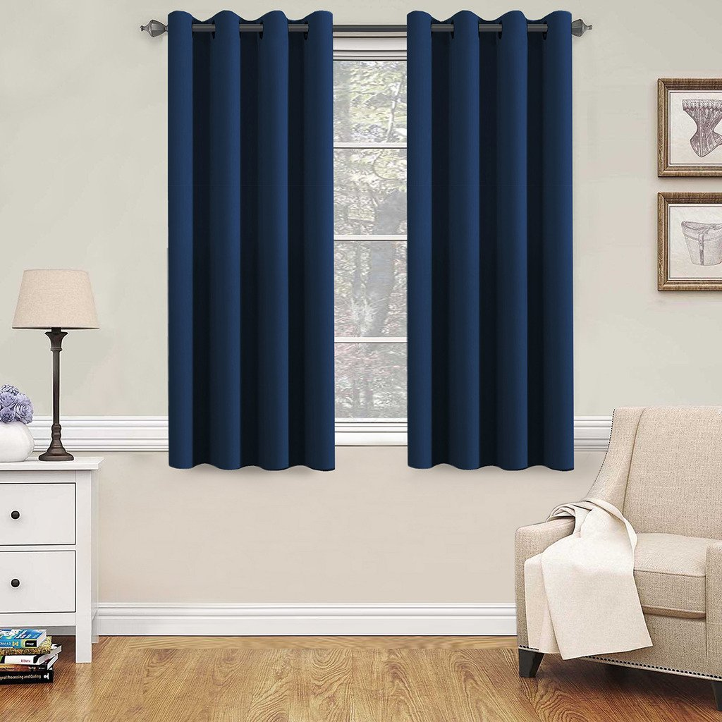 H.VERSAILTEX Premium Blackout Thermal Insulated Innovated Microfiber Home Fashion Window Curtains For Bedroom,Antique Grommet,52'' W x 63'' L - Navy Blue - Set of 2 Panels
