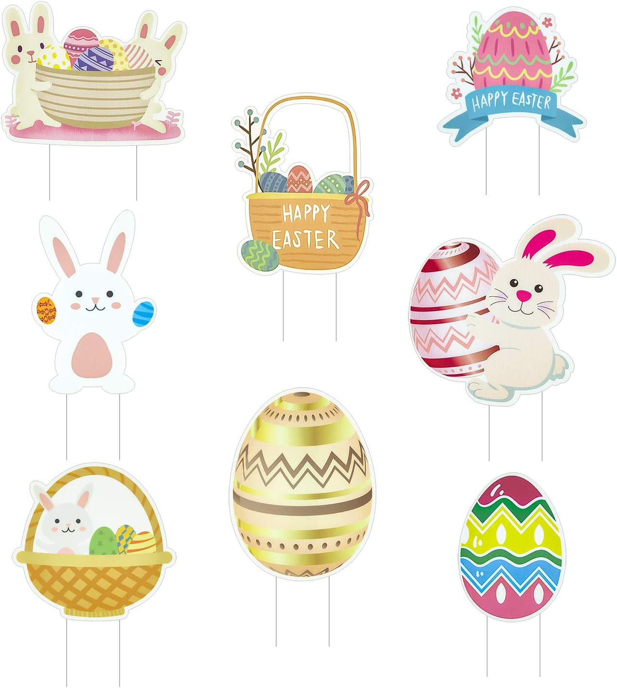 CAVLA Pack of 8 Easter Yard Signs Decorations Bunny Eggs Easter Lawn Decorations Easter Props with Stakes for Lawn Yard Decorations Easter Garden Decor Easter Eggs Hunt Game Party Supplies