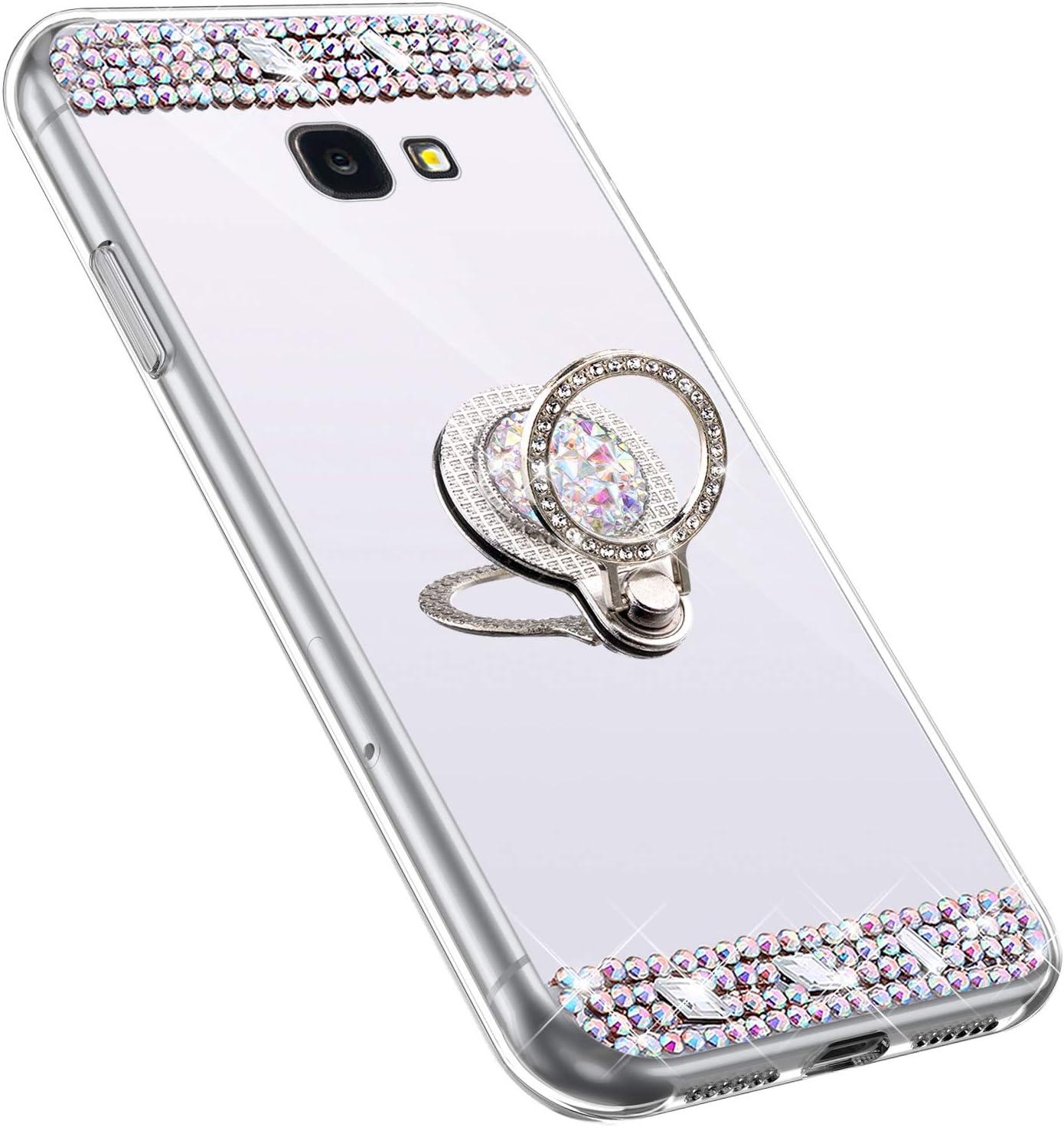 YSIMEE Compatibile Cover Samsung Galaxy J4 Plus 2018 Custodie Brillantini Glitter Diamante Specchio in TPU Silicone Antiurto Anti-Graffio Ultra Sottile Morbida Bumper Mirror Case con Anello,Oro Rosa