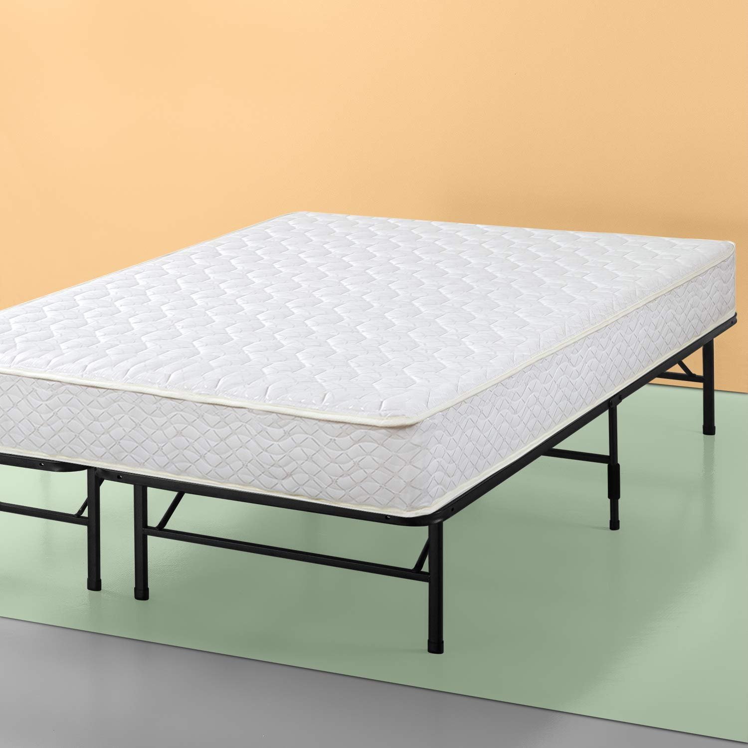 Zinus Set, Twin 8 Inch Spring Mattress and Shawn SmartBase Platform Bed Frame / Mattress Foundation by Zinus