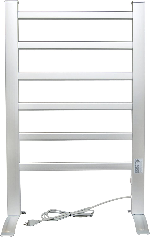 LCM Home Fashion 6-Bar Heated Towel Rack Free Standing