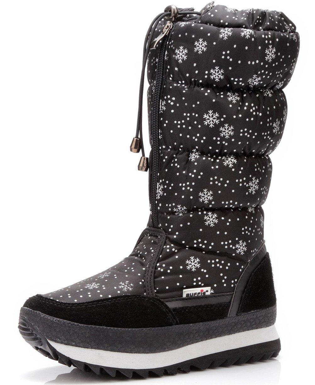 DADAWEN Women's Winter Waterproof Fur Lined Frosty Snow Boots B01M0QLZ3K 4.5 B(M) US Black