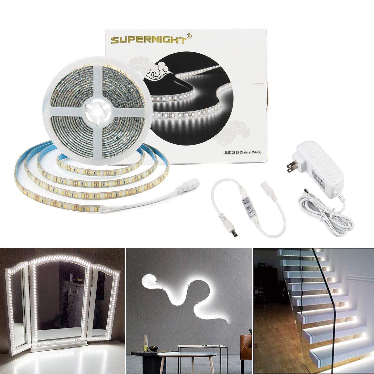 SUPERNIGHT Daylight White LED Light Strip 6500K, Brightness Adjustable 16.4ft 600 LEDs SMD 2835 Strip Light with Dimmer, UL Listed 12V Power Supply for Cabinet, Vanity Mirror, DIY Decoration