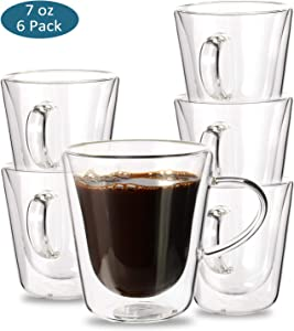 Espresso Cups, YULEER Double Wall Glass Coffee Mugs with Handle - Wall Insulated Glasses Coffee Cups, Cappuccino Cups 7 Ounce - Set of 6