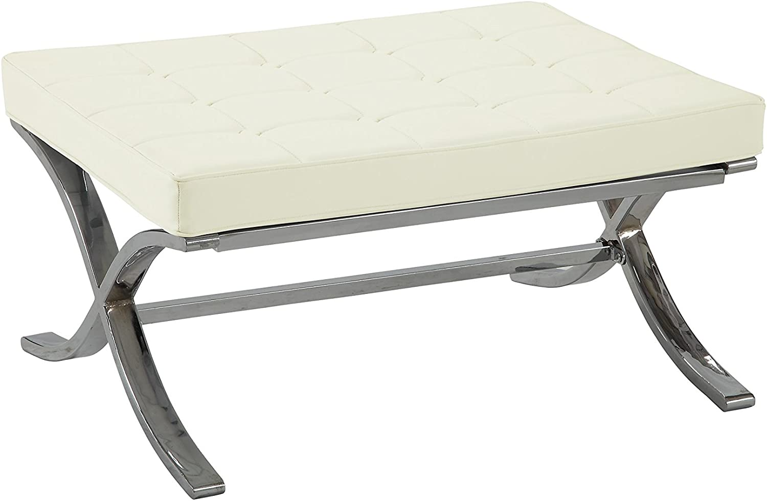 ACME Furniture Elian Ottoman, Ivory PU & Chrome