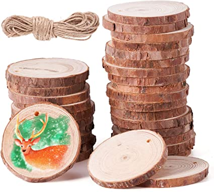 SOMIER 20 piezas de rodajas de madera natural, de 8 a 8,9 cm ...