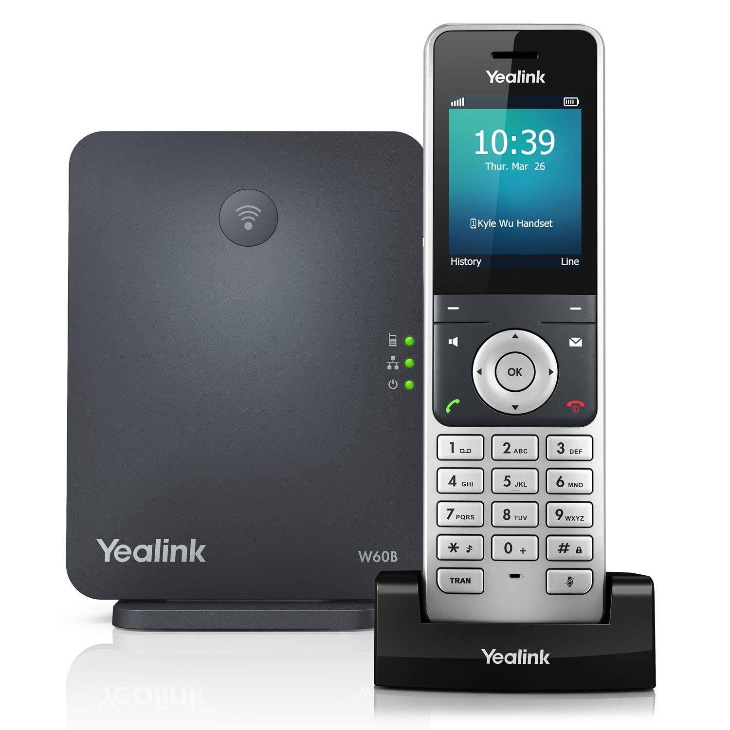 Yealink W60P Cordless DECT IP Phone and Base Station, 2.4-Inch Color Display. 10/100 Ethernet, 802.3af PoE, Power Adapter Included by Yealink
