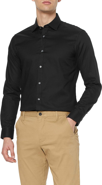 Marca Amazon - MERAKI Camisa de Vestir Estilo Óxford con Corte Entallado Hombre