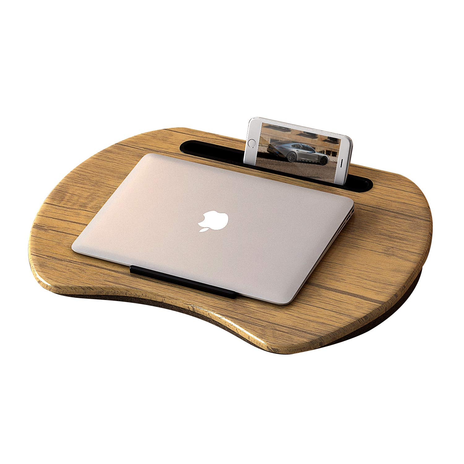 HOME BI Lap Desk for Laptop, Portable Laptop Table with Phone Tablet Holder, Fits up to 15'' Laptop and 9.7'' Tablet (Brown)