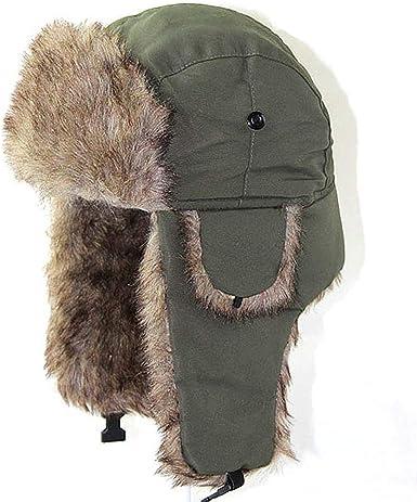 Winter Warm Bomber Hats Russian Trooper Ear Flaps Ski Outdoor Cap Scarf  Earmuffs Men Women Faux Fur, Army Green at Amazon Men's Clothing store