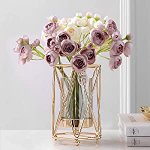 Geometric Glass Vase with Metal Bracket, Crystal Transparent Inner Vase, Hand-Plated Geometric Metal Vase, Rose Gold Vase Decoration for Home Office Wedding Holiday Party Gift